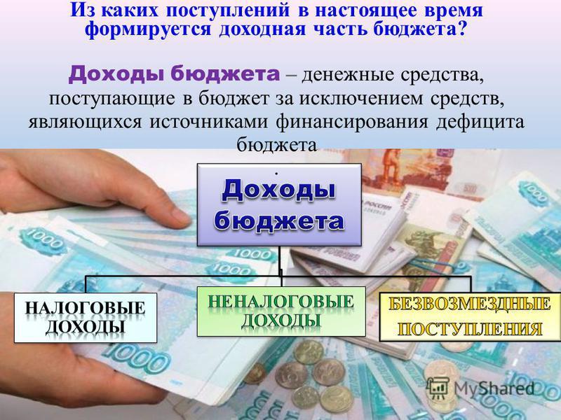 Из каких поступлений в настоящее время формируется доходная часть бюджета? Доходы бюджета – денежные средства, поступающие в бюджет за исключением средств, являющихся источниками финансирования дефицита бюджета.