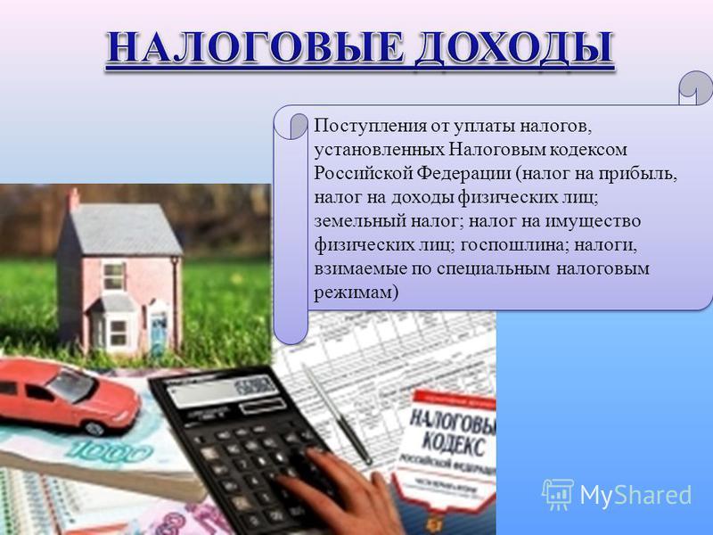 Поступления от уплаты налогов, установленных Налоговым кодексом Российской Федерации (налог на прибыль, налог на доходы физических лиц; земельный налог; налог на имущество физических лиц; госпошлина; налоги, взимаемые по специальным налоговым режимам