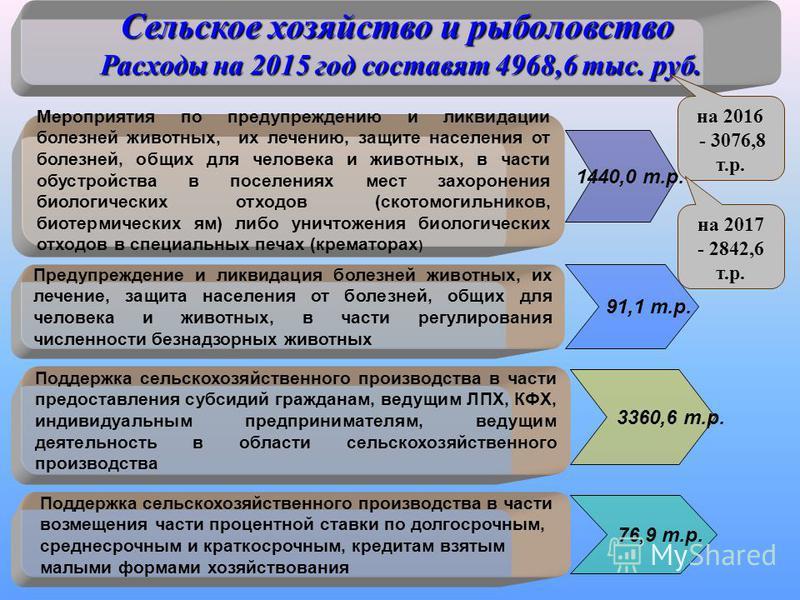 Сельское хозяйство и рыболовство Расходы на 2015 год составят 4968,6 тыс. руб. Мероприятия по предупреждению и ликвидации болезней животных, их лечению, защите населения от болезней, общих для человека и животных, в части обустройства в поселениях ме