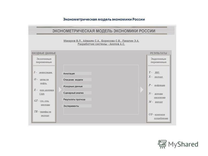 Эконометрическая модель экономики России