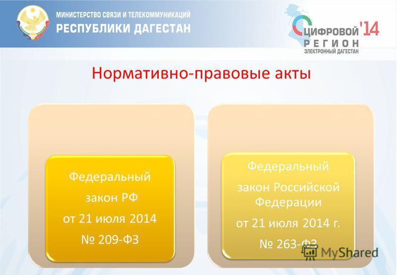 Нормативно-правовые акты Федеральный закон РФ от 21 июля 2014 209-ФЗ Федеральный закон Российской Федерации от 21 июля 2014 г. 263-ФЗ