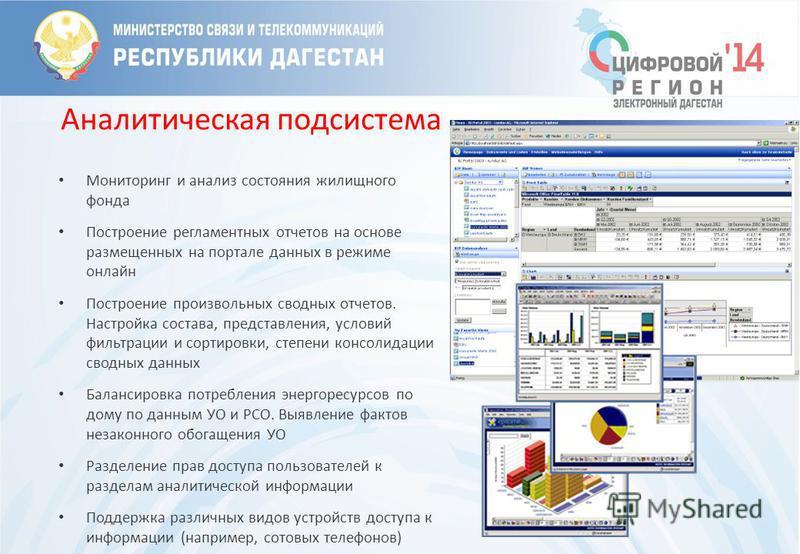 Аналитическая подсистема Мониторинг и анализ состояния жилищного фонда Построение регламентных отчетов на основе размещенных на портале данных в режиме онлайн Построение произвольных сводных отчетов. Настройка состава, представления, условий фильтрац