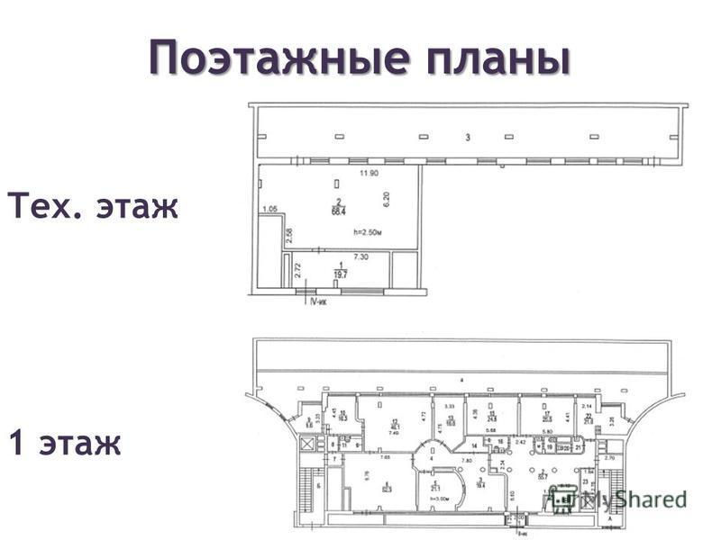 Поэтажные планы Тех. этаж 1 этаж