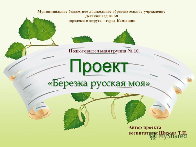 Проект «Березка русская моя» Автор проекта воспитатель: Шихова Т.И. Подготовительная группа 10.