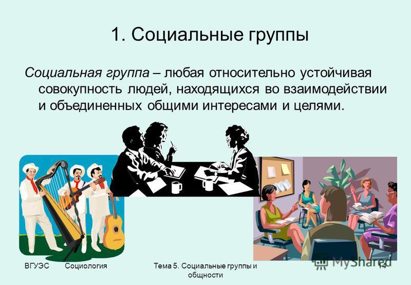 ВГУЭС Социология Тема 5. Социальные группы и общности 14 1. Социальные группы Социальная группа – любая относительно устойчивая совокупность людей, находящихся во взаимодействии и объединенных общими интересами и целями.