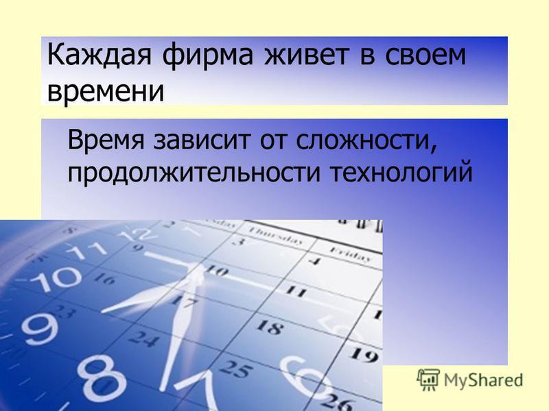 Каждая фирма живет в своем времени Время зависит от сложности, продолжительности технологий