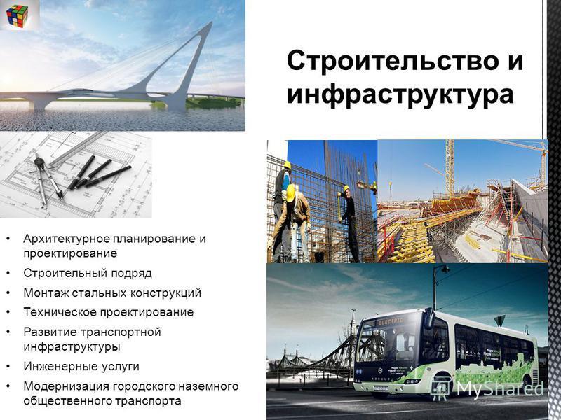 Архитектурное планирование и проектирование Строительный подряд Монтаж стальных конструкций Техническое проектирование Развитие транспортной инфраструктуры Инженерные услуги Модернизация городского наземного общественного транспорта Строительство и и