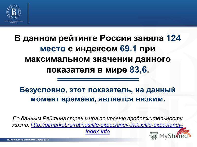 В данном рейтинге Россия заняла 124 место с индексом 69.1 при максимальном значении данного показателя в мире 83,6. Безусловно, этот показатель, на данный момент времени, является низким. По данным Рейтинг стран мира по уровню продолжительности жизни