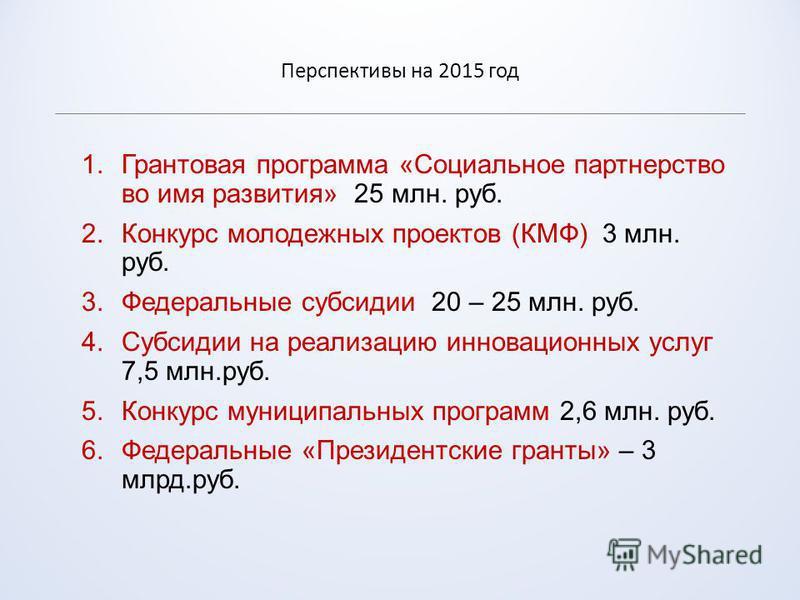 Перспективы на 2015 год 1. Грантовая программа «Социальное партнерство во имя развития» 25 млн. руб. 2. Конкурс молодежных проектов (КМФ) 3 млн. руб. 3. Федеральные субсидии 20 – 25 млн. руб. 4. Субсидии на реализацию инновационных услуг 7,5 млн.руб.