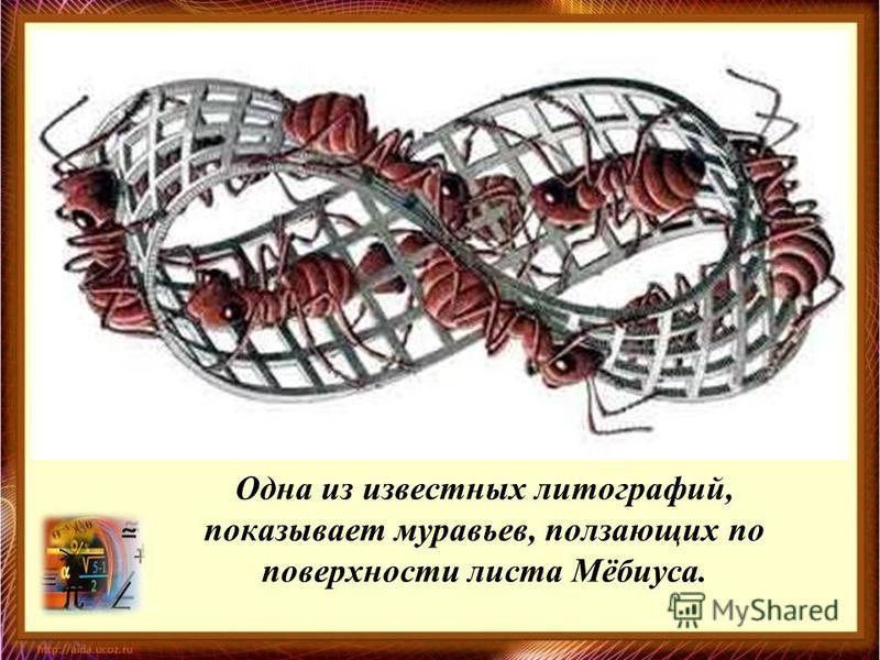 Одна из известных литографий, показывает муравьев, ползающих по поверхности листа Мёбиуса.