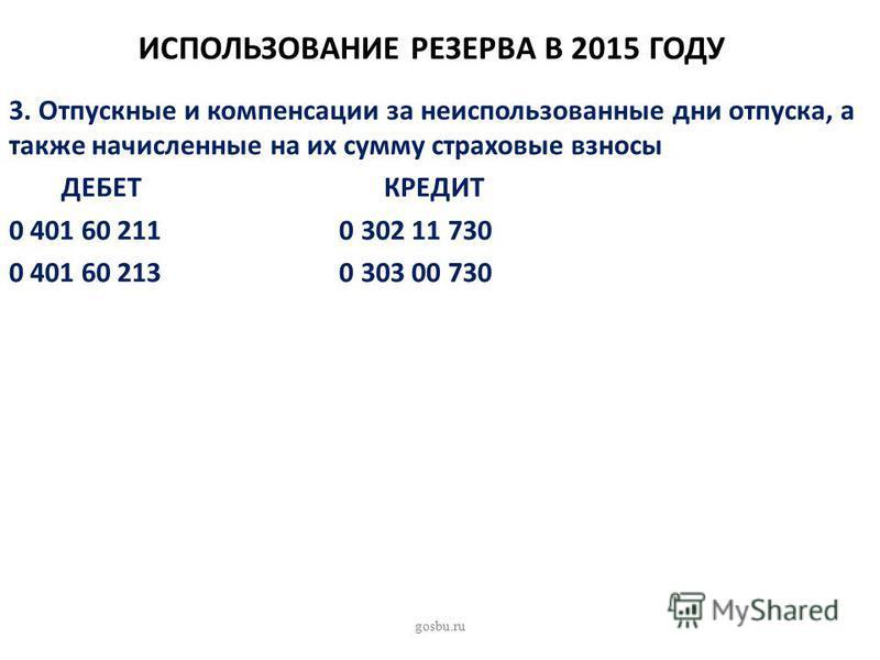 ИСПОЛЬЗОВАНИЕ РЕЗЕРВА В 2015 ГОДУ 3. Отпускные и компенсации за неиспользованные дни отпуска, а также начисленные на их сумму страховые взносы ДЕБЕТ КРЕДИТ 0 401 60 211 0 302 11 730 0 401 60 213 0 303 00 730 gosbu.ru