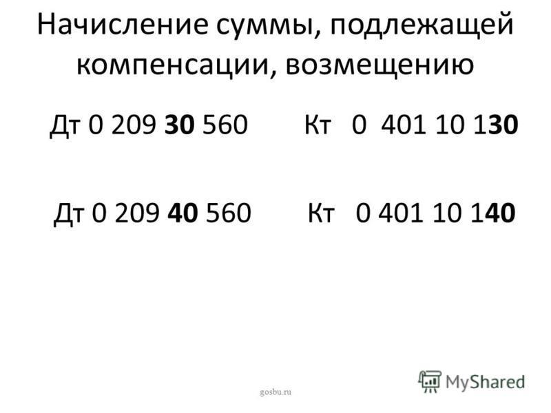 Начисление суммы, подлежащей компенсации, возмещению Дт 0 209 30 560 Кт 0 401 10 130 Дт 0 209 40 560 Кт 0 401 10 140 gosbu.ru