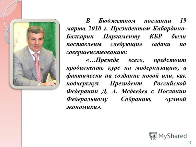 В Бюджетном послании 19 марта 2010 г. Президентом Кабардино- Балкарии Парламенту КБР были поставлены следующие задачи по совершенствованию: «…Прежде всего, предстоит продолжить курс на модернизацию, а фактически на создание новой или, как подчеркнул