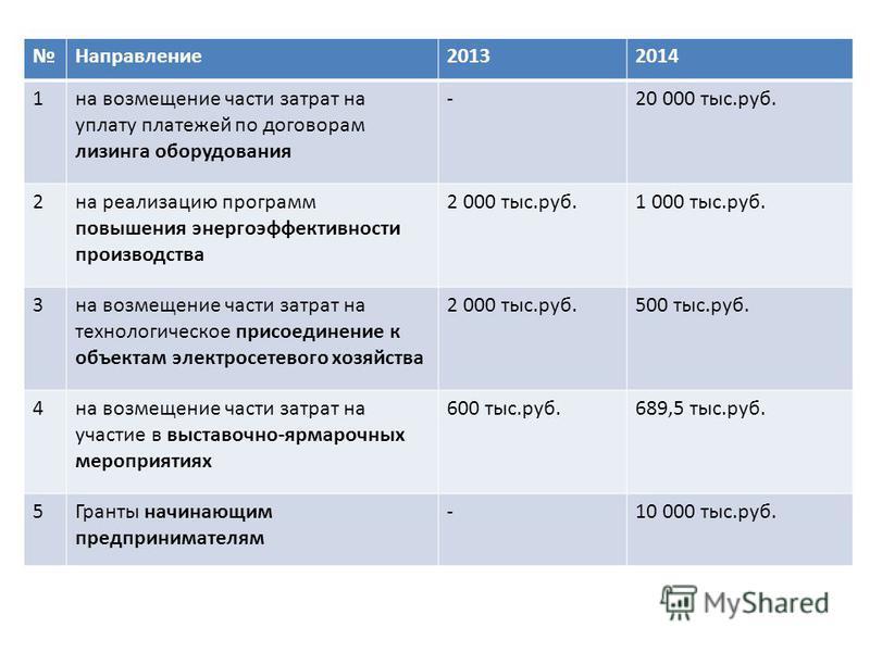 Направление 20132014 1 на возмещение части затрат на уплату платежей по договорам лизинга оборудования -20 000 тыс.руб. 2 на реализацию программ повышения энергоэффективности производства 2 000 тыс.руб.1 000 тыс.руб. 3 на возмещение части затрат на т