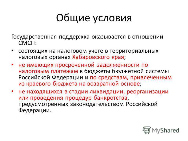 Общие условия Государственная поддержка оказывается в отношении СМСП: состоящих на налоговом учете в территориальных налоговых органах Хабаровского края; не имеющих просроченной задолженности по налоговым платежам в бюджеты бюджетной системы Российск