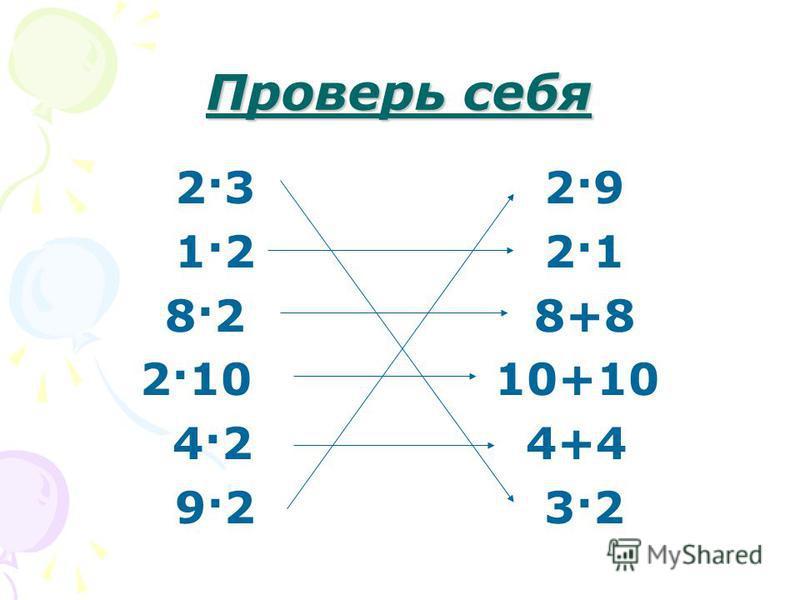 Проверь себя 2·3 2·9 1·2 2·1 8·2 8+8 2·10 10+10 4·2 4+4 9·2 3·2