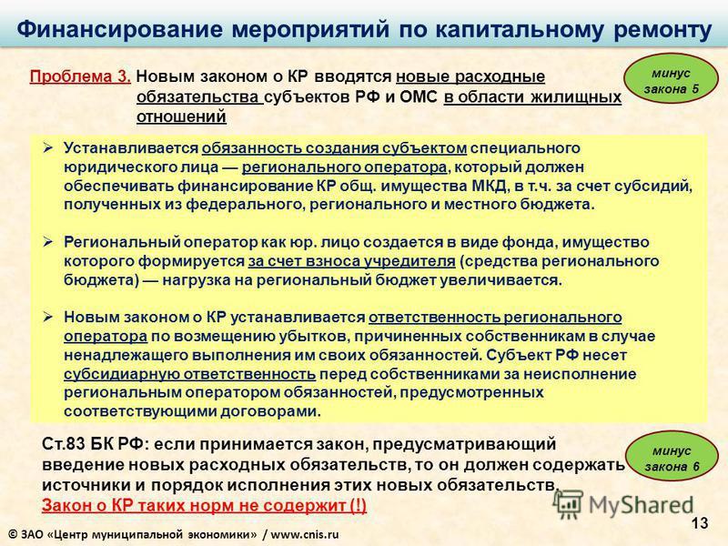 13 Финансирование мероприятий по капитальному ремонту Проблема 3. Новым законом о КР вводятся новые расходные обязательства субъектов РФ и ОМС в области жилищных отношений Устанавливается обязанность создания субъектом специального юридического лица