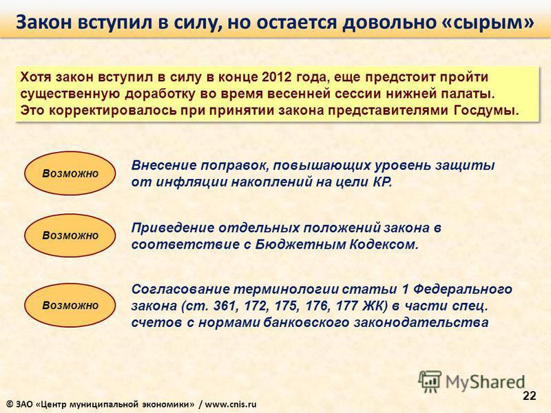 22 Закон вступил в силу, но остается довольно «сырым» Хотя закон вступил в силу в конце 2012 года, еще предстоит пройти существенную доработку во время весенней сессии нижней палаты. Это корректировалось при принятии закона представителями Госдумы. В