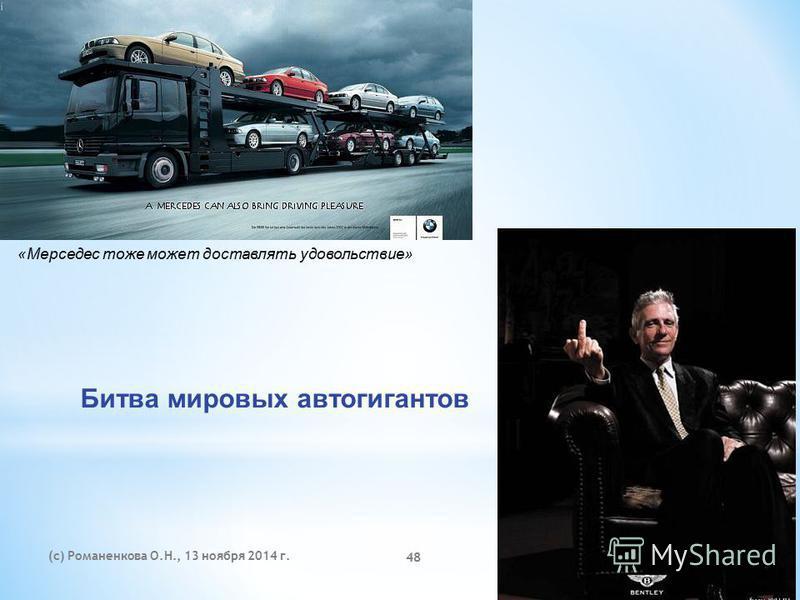 (с) Романенкова О.Н., 13 ноября 2014 г. 48 «Мерседес тоже может доставлять удовольствие» Битва мировых автогигантов