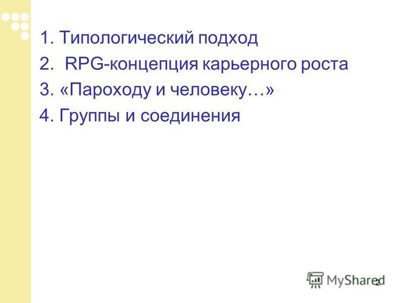 2 1. Типологический подход 2.RPG-концепция карьерного роста 3. «Пароходу и человеку…» 4. Группы и соединения
