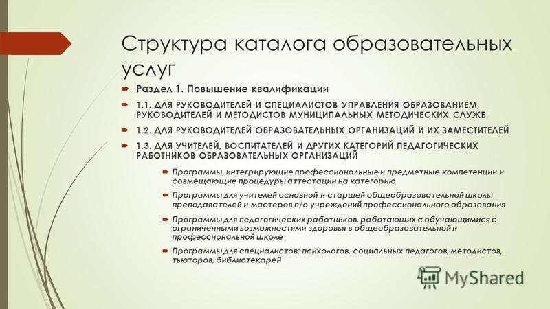 Структура каталога образовательных услуг Раздел 1. Повышение квалификации 1.1. ДЛЯ РУКОВОДИТЕЛЕЙ И СПЕЦИАЛИСТОВ УПРАВЛЕНИЯ ОБРАЗОВАНИЕМ, РУКОВОДИТЕЛЕЙ И МЕТОДИСТОВ МУНИЦИПАЛЬНЫХ МЕТОДИЧЕСКИХ СЛУЖБ 1.2. ДЛЯ РУКОВОДИТЕЛЕЙ ОБРАЗОВАТЕЛЬНЫХ ОРГАНИЗАЦИЙ И