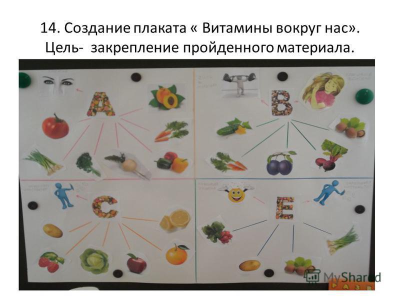 14. Создание плаката « Витамины вокруг нас». Цель- закрепление пройденного материала.