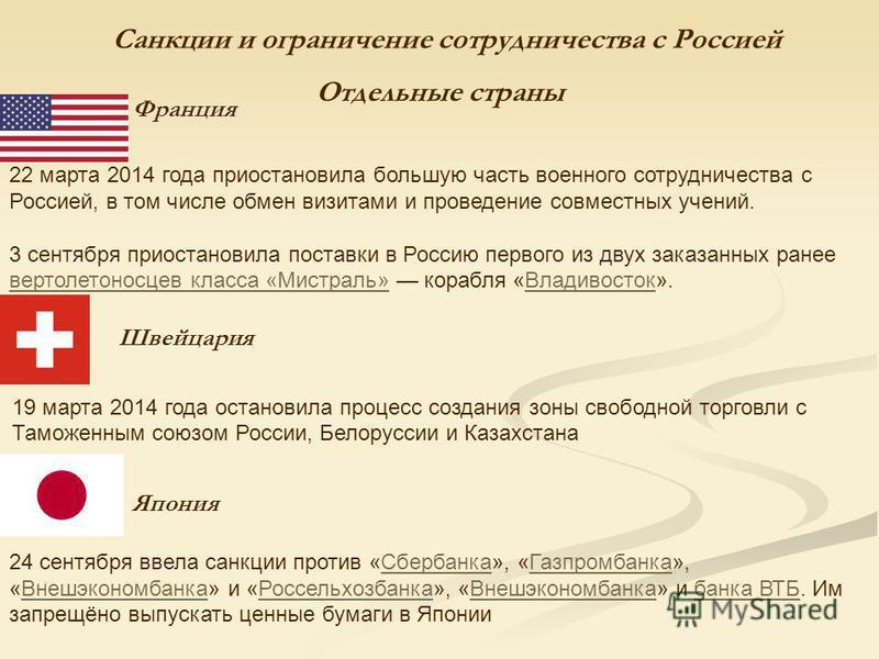 Санкции и ограничение сотрудничества с Россией Отдельные страны Франция 22 марта 2014 года приостановила большую часть военного сотрудничества с Россией, в том числе обмен визитами и проведение совместных учений. 3 сентября приостановила поставки в Р