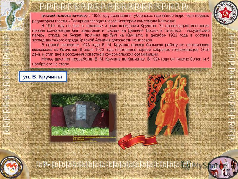 [Название проекта] Анализ причин неудачи [Название] ВИТАЛИЙ ТОЛКАЧЕВ (КРУЧИНА) в 1923 году возглавлял губернское партийное бюро, был первым редактором газеты «Полярная звезда» и организатором комсомола Камчатки. В 1919 году он был в подполье и взял п