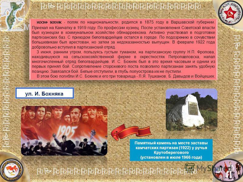 [Название проекта] Анализ причин неудачи [Название] Место расположения партизанской заставы ИОСИФ БОХНЯК - поляк по национальности, родился в 1875 году в Варшавской губернии. Приехал на Камчатку в 1919 году. По профессии кузнец. После установления Со