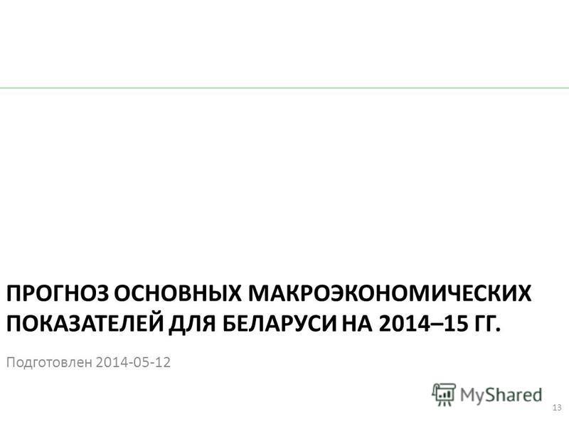 ПРОГНОЗ ОСНОВНЫХ МАКРОЭКОНОМИЧЕСКИХ ПОКАЗАТЕЛЕЙ ДЛЯ БЕЛАРУСИ НА 2014–15 ГГ. Подготовлен 2014-05-12 13