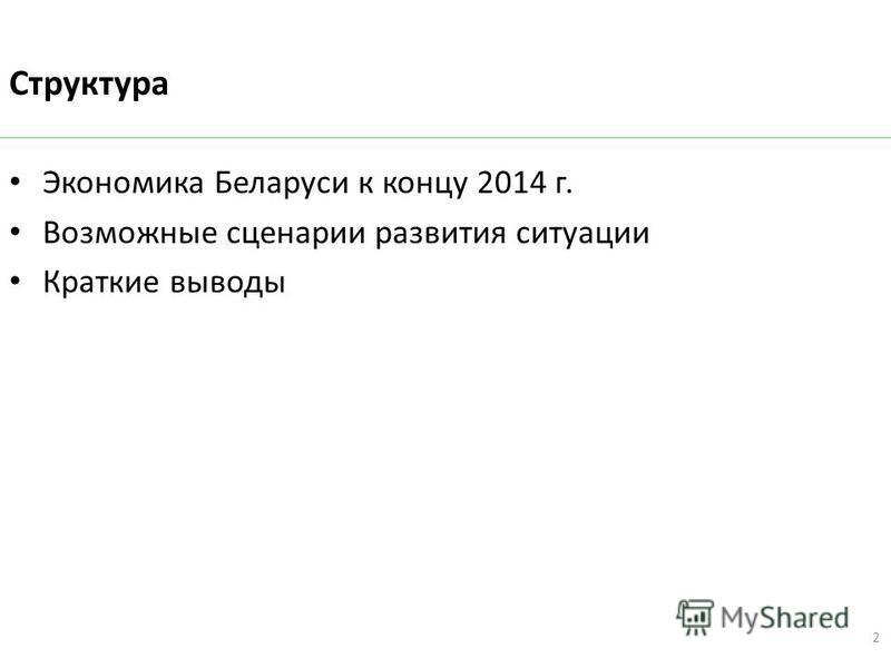 Структура Экономика Беларуси к концу 2014 г. Возможные сценарии развития ситуации Краткие выводы 2