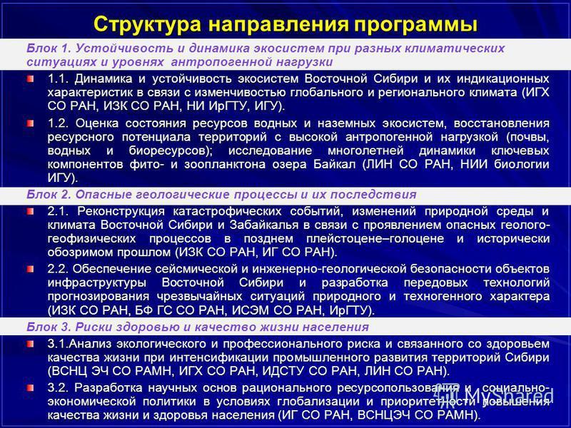 Структура направления программы Блок 1. Устойчивость и динамика экосистем при разных климатических ситуациях и уровнях антропогенной нагрузки 1.1. Динамика и устойчивость экосистем Восточной Сибири и их индикационных характеристик в связи с изменчиво