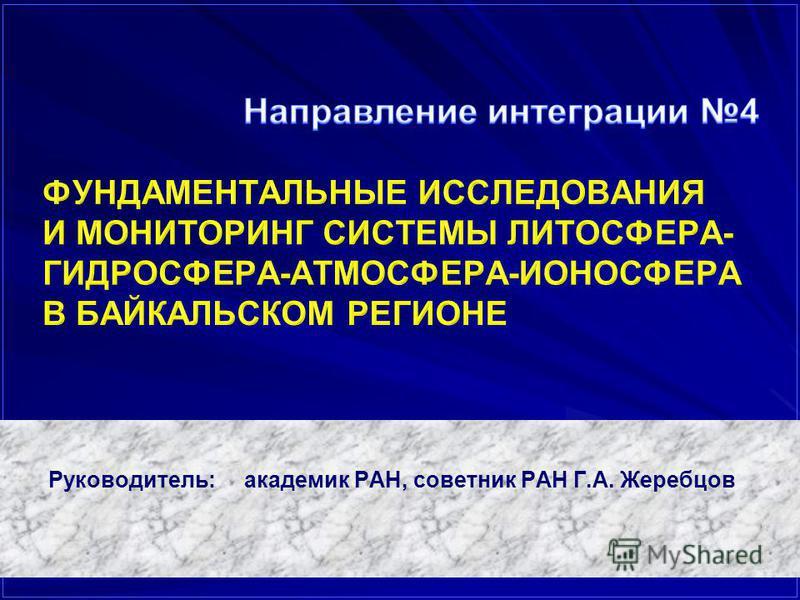 Руководитель: академик РАН, советник РАН Г.А. Жеребцов
