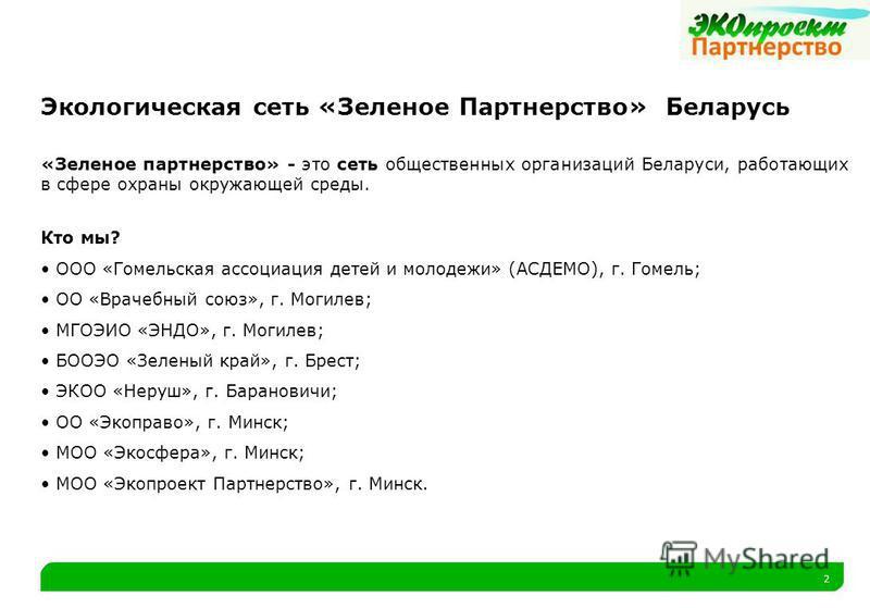 2 Экологическая сеть «Зеленое Партнерство» Беларусь «Зеленое партнерство» - это сеть общественных организаций Беларуси, работающих в сфере охраны окружающей среды. Кто мы? ООО «Гомельская ассоциация детей и молодежи» (АСДЕМО), г. Гомель; ОО «Врачебны
