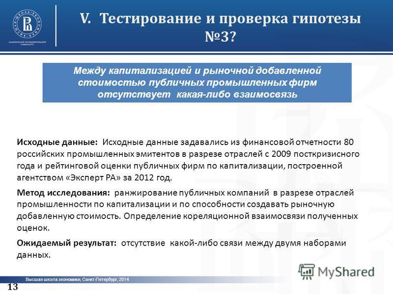 Высшая школа экономики, Санкт-Петербург, 2014 V.Тестирование и проверка гипотезы 3? фото 13 Между капитализацией и рыночной добавленной стоимостью публичных промышленных фирм отсутствует какая-либо взаимосвязь Исходные данные: Исходные данные задавал