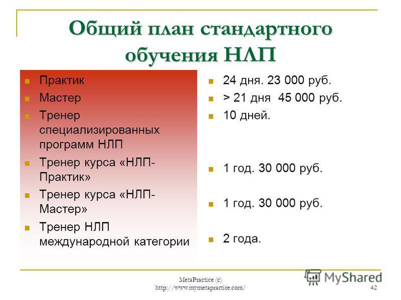 MetaPractice (с) http://www.mymetapractice.com/ 41 PR и продажи Информационная пирамида НЛП генерируется БРЕНД НЛП [Моделирование (внутренняя кухня)] МЕТОДИКИ – о них рассказывают ТЕХНИКИ и шаблоны – им учат РЕКЛАМА