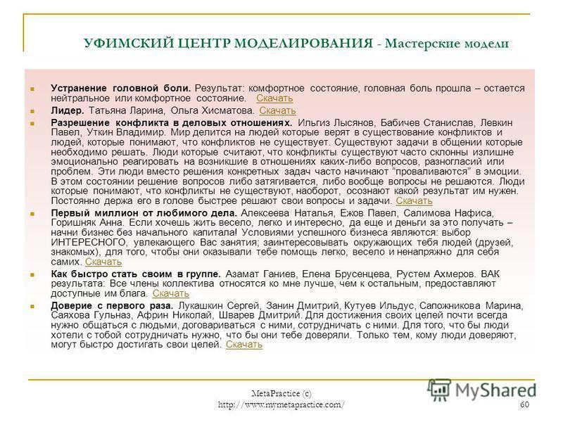 MetaPractice (с) http://www.mymetapractice.com/ 59 УФИМСКИЙ ЦЕНТР МОДЕЛИРОВАНИЯ http://www.laboratory.insint.ru/ Основная работа нашего центра посвящена именно моделированию. Каждый год появляются новые интересные модели, со многими из которых Вы мож