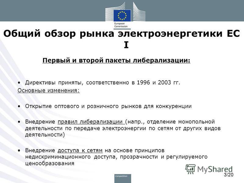 3/20 Общий обзор рынка электроэнергетики ЕС I Первый и второй пакеты либерализации: Директивы приняты, соответственно в 1996 и 2003 гг. Основные изменения: Открытие оптового и розничного рынков для конкуренции Внедрение правил либерализации (напр., о