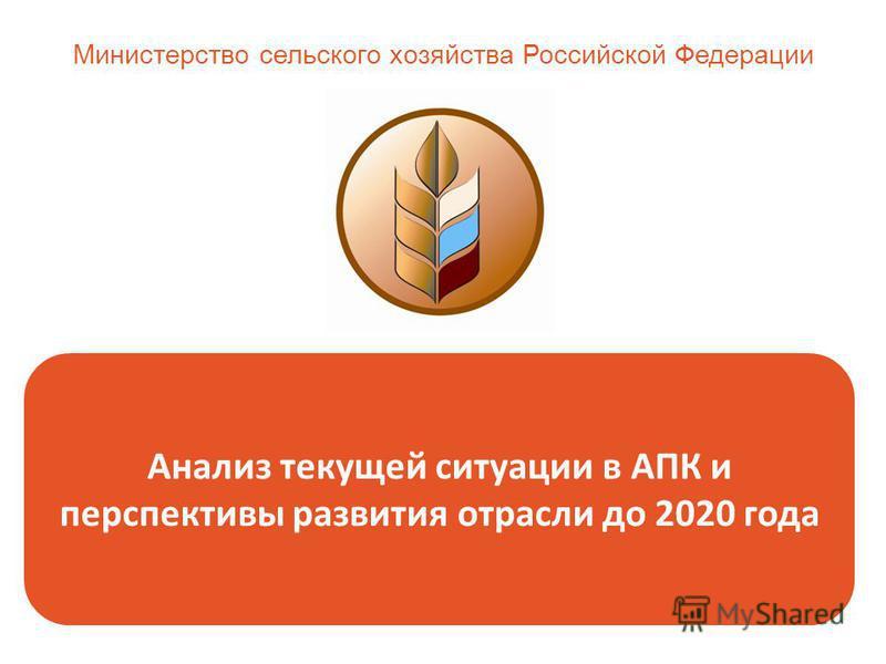 Анализ текущей ситуации в АПК и перспективы развития отрасли до 2020 года Министерство сельского хозяйства Российской Федерации