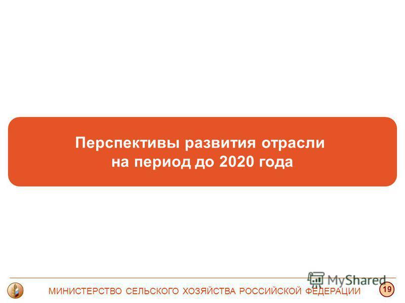 Перспективы развития отрасли на период до 2020 года МИНИСТЕРСТВО СЕЛЬСКОГО ХОЗЯЙСТВА РОССИЙСКОЙ ФЕДЕРАЦИИ 19