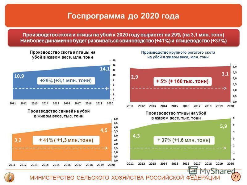 МИНИСТЕРСТВО СЕЛЬСКОГО ХОЗЯЙСТВА РОССИЙСКОЙ ФЕДЕРАЦИИ 27 Производство скота и птицы на убой к 2020 году вырастет на 29% (на 3,1 млн. тонн) Наиболее динамично будет развиваться свиноводство (+41%) и птицеводство (+37%) Производство скота и птицы на уб