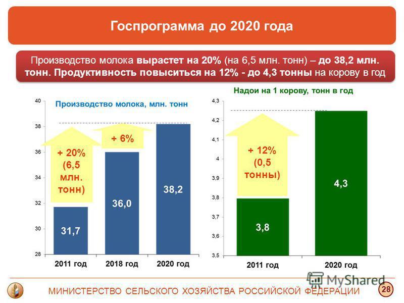 МИНИСТЕРСТВО СЕЛЬСКОГО ХОЗЯЙСТВА РОССИЙСКОЙ ФЕДЕРАЦИИ 28 Производство молока вырастет на 20% (на 6,5 млн. тонн) – до 38,2 млн. тонн. Продуктивность повыситься на 12% - до 4,3 тонны на корову в год Госпрограмма до 2020 года + 20% (6,5 млн. тонн) + 12%