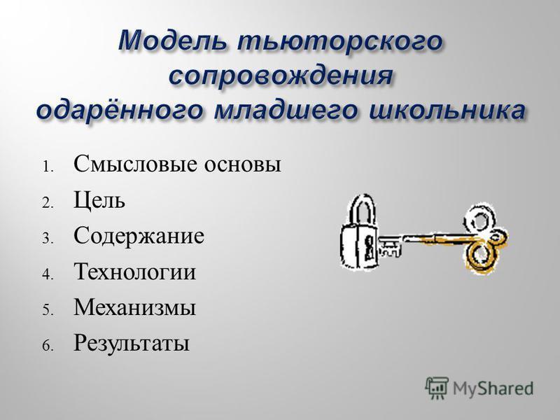 1. Смысловые основы 2. Цель 3. Содержание 4. Технологии 5. Механизмы 6. Результаты