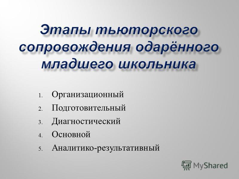 1. Организационный 2. Подготовительный 3. Диагностический 4. Основной 5. Аналитико - результативный