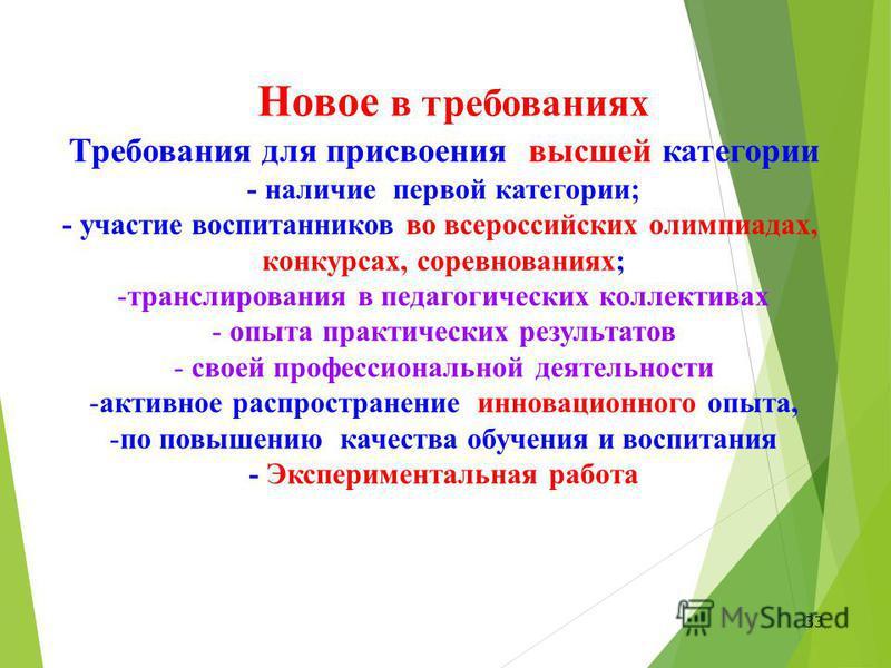 33 Требования для присвоения высшей категории - наличие первой категории; - участие воспитанников во всероссийских олимпиадах, конкурсах, соревнованиях; -транслирования в педагогических коллективах - опыта практических результатов - своей профессиона