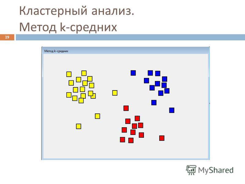 Кластерный анализ. Метод k- средних 19