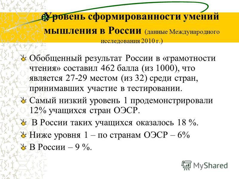 Уровень сформированности умений мышления в России (данные Международного исследования 2010 г.) Обобщенный результат России в «грамотности чтения» составил 462 балла (из 1000), что является 27-29 местом (из 32) среди стран, принимавших участие в тести