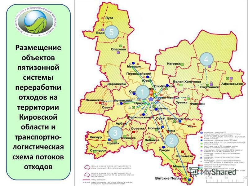Размещение объектов пятизонной системы переработки отходов на территории Кировской области и транспортно- логистическая схема потоков отходов 5 4 1 3 2