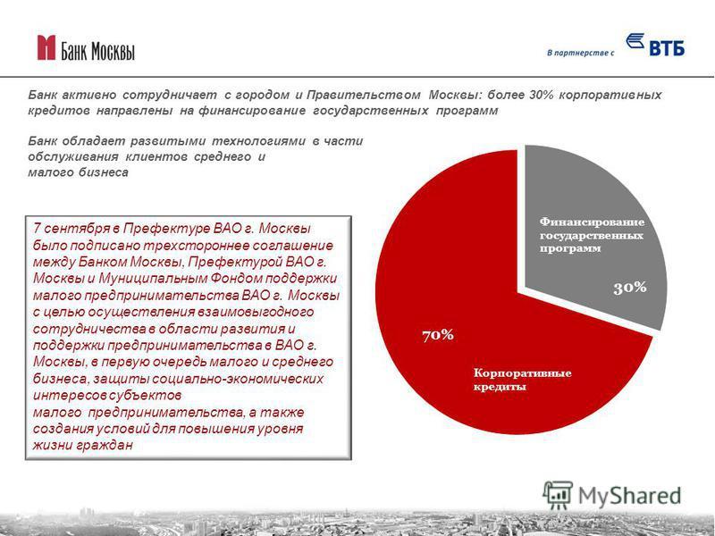 Банк активно сотрудничает с городом и Правительством Москвы: более 30% корпоративных кредитов направлены на финансирование государственных программ Банк обладает развитыми технологиями в части обслуживания клиентов среднего и малого бизнеса 7 сентябр