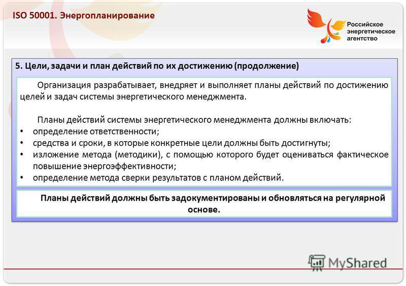 Российское энергетическое агентство 13.08.10 ISO 50001. Энергопланирование 5. Цели, задачи и план действий по их достижению (продолжение) Организация разрабатывает, внедряет и выполняет планы действий по достижению целей и задач системы энергетическо